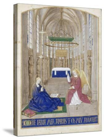 The Annunciation (Hours of Étienne Chevalie)-Jean Fouquet-Stretched Canvas Print