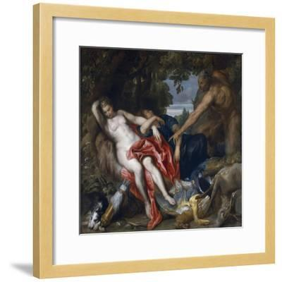 Diana and Her Nymph Surprised by Satyr-Sir Anthony Van Dyck-Framed Giclee Print