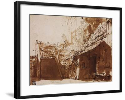 Farmhouse in Light and Shadow-Rembrandt van Rijn-Framed Giclee Print