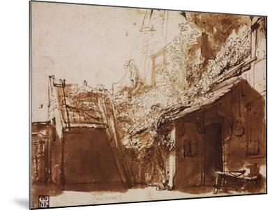 Farmhouse in Light and Shadow-Rembrandt van Rijn-Mounted Giclee Print