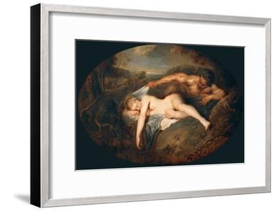 Nymph and Satyr (Jupiter and Antiop)-Jean Antoine Watteau-Framed Giclee Print