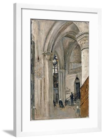 Interior of the Church at Mantes-Jean-Baptiste-Camille Corot-Framed Giclee Print