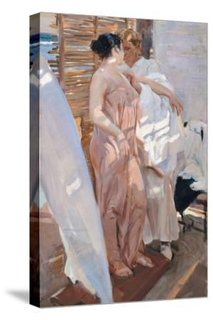 The Pink Robe. after the Bath-Joaqu?n Sorolla y Bastida-Stretched Canvas Print