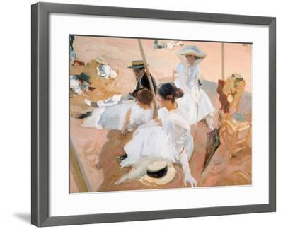 Under the Awning, on the Beach at Zarautz-Joaqu?n Sorolla y Bastida-Framed Giclee Print