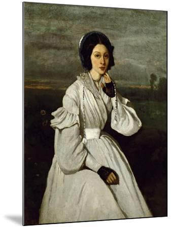 Portrait of Claire Sennegon-Jean-Baptiste-Camille Corot-Mounted Giclee Print