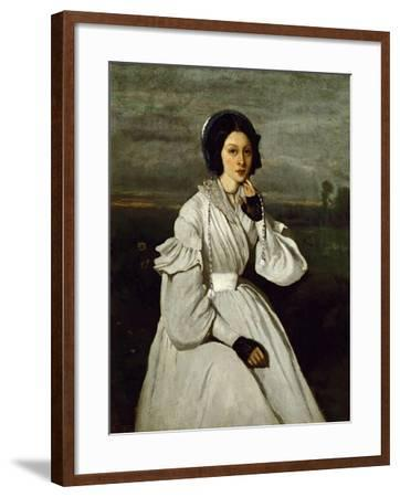 Portrait of Claire Sennegon-Jean-Baptiste-Camille Corot-Framed Giclee Print