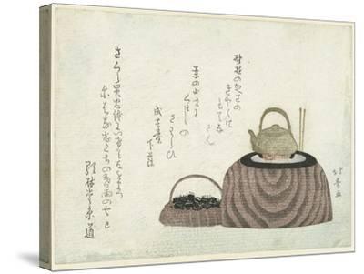 Tea Kettle on the Stove-Shotei Hokuju-Stretched Canvas Print