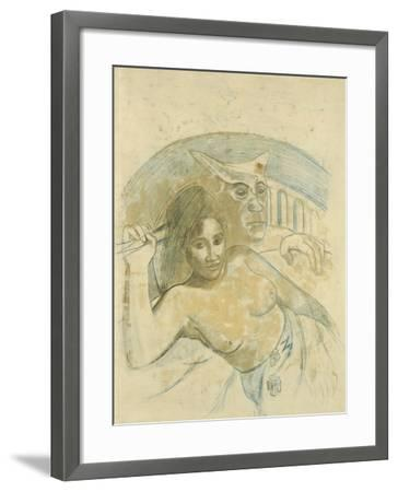 Tahitian Woman with Evil Spirit-Paul Gauguin-Framed Giclee Print
