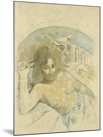 Tahitian Woman with Evil Spirit-Paul Gauguin-Mounted Giclee Print