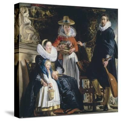 The Painter's Family-Jacob Jordaens-Stretched Canvas Print