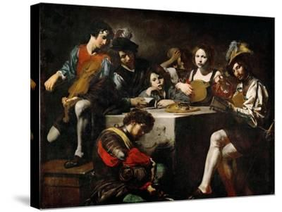 Concert with Bas-Relief-Valentin  de Boullogne-Stretched Canvas Print