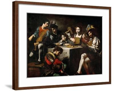 Concert with Bas-Relief-Valentin  de Boullogne-Framed Giclee Print