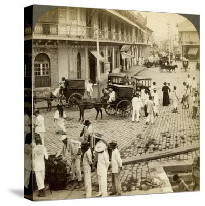 Rosario Road and Binondo Church, Manila, Philippines-Underwood & Underwood-Stretched Canvas Print