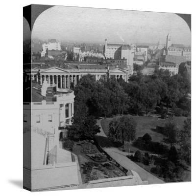 The White House and the Treasury Building, Washington DC, USA-Underwood & Underwood-Stretched Canvas Print