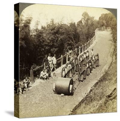 Women Working on the Darjeeling Highway, India-Underwood & Underwood-Stretched Canvas Print