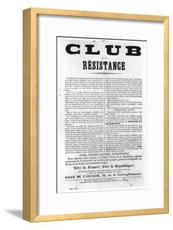 Club De La Resistance, from French Political Posters of the Paris Commune, May 1871--Framed Giclee Print