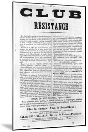 Club De La Resistance, from French Political Posters of the Paris Commune, May 1871--Mounted Giclee Print