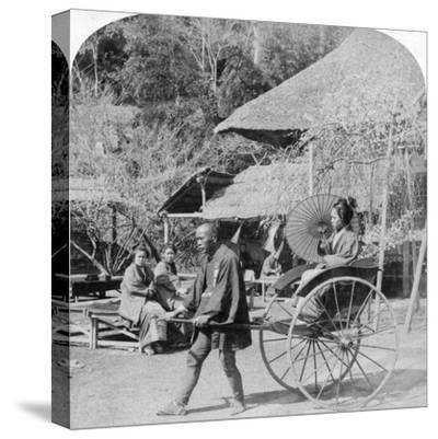 A Morning Ride in a Jinrikisha (Ricksha), Sugita, Japan, 1896-Underwood & Underwood-Stretched Canvas Print