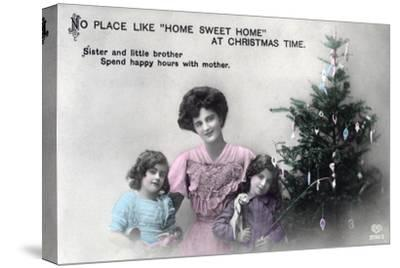 No Place Like Home Sweet Home at Christmas Time, Greetings Card, C1900-1919- Schwerdffeger & Co-Stretched Canvas Print