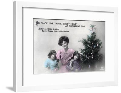 No Place Like Home Sweet Home at Christmas Time, Greetings Card, C1900-1919- Schwerdffeger & Co-Framed Giclee Print