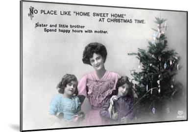 No Place Like Home Sweet Home at Christmas Time, Greetings Card, C1900-1919- Schwerdffeger & Co-Mounted Giclee Print