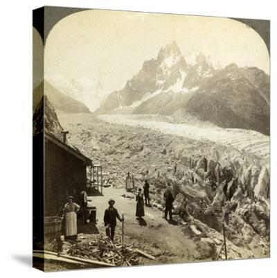 Mer De Glace from the 'Chapeau, Near Chamonix, France-Underwood & Underwood-Stretched Canvas Print