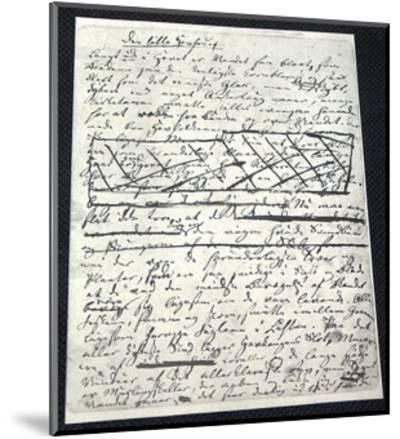 "Manuscript of ""The Little Mermaid"" by Hans Christian Andersen (1805-187)--Mounted Giclee Print"