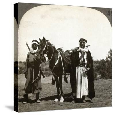 A Sheikh and His Bodyguard, Syria, 1900s--Stretched Canvas Print