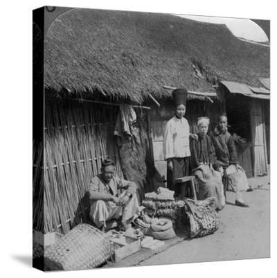Native Shop and Customers, Near Mogok, Northern Burma, C1900s-Underwood & Underwood-Stretched Canvas Print