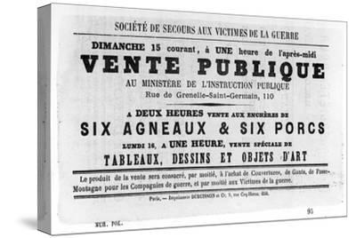 Vente Publique, from French Political Posters of the Paris Commune, May 1871--Stretched Canvas Print