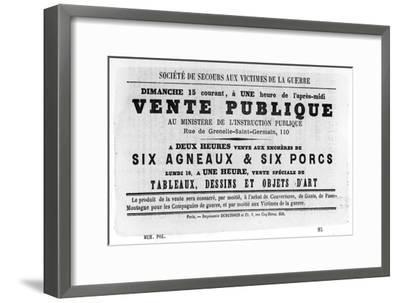 Vente Publique, from French Political Posters of the Paris Commune, May 1871--Framed Giclee Print