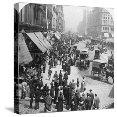 A Street Scene in Chicago, Illinois, USA, 1896-Underwood & Underwood-Stretched Canvas Print