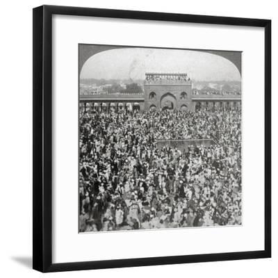 In the Court of the Jumma Mosque, Delhi, India, 1903-Underwood & Underwood-Framed Giclee Print