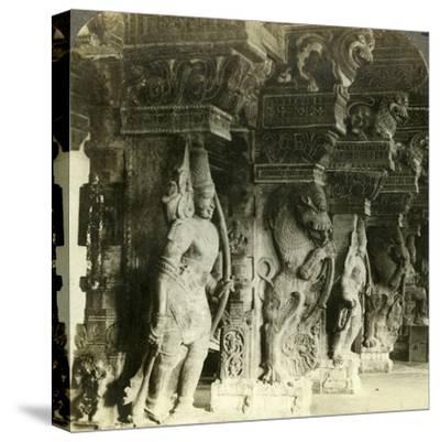 Pillars of a Hindu Temple, Madurai, India, C1900s-Underwood & Underwood-Stretched Canvas Print