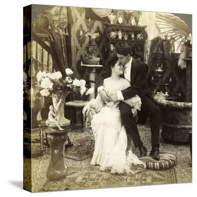 George Greatly Admires Ethel's Beautiful Complexion-Underwood & Underwood-Stretched Canvas Print