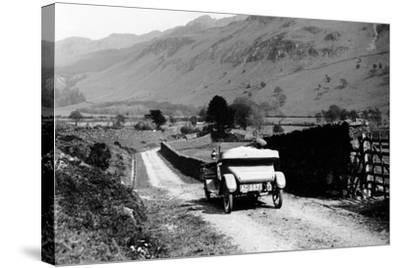 A Vintage Car Travelling Along a Lane Through the Lake District, Cumbria, 1920s--Stretched Canvas Print