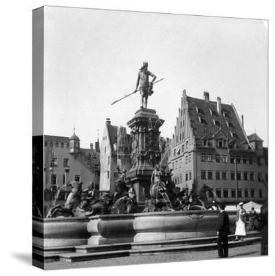 The Neptune Fountain, Nuremberg, Germany, C1900s-Wurthle & Sons-Stretched Canvas Print
