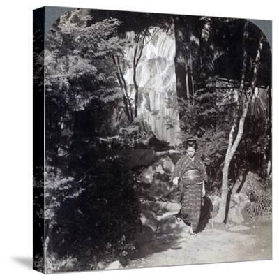 Splashing Waters of a Waterfall at Yumoto, Japan, 1904-Underwood & Underwood-Stretched Canvas Print