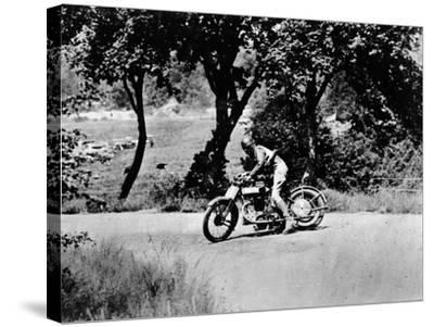 A Man on a Norton Bike Taking Part in the Belgian Grand Prix, 1924--Stretched Canvas Print