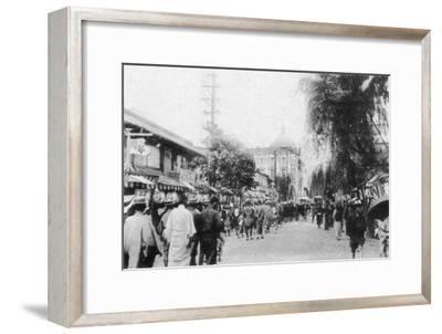 Shokin Bank from Bashamichi, Yokohama, Japan, 20th Century--Framed Giclee Print