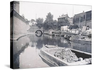 Unloading on the Grand Union Canal, London, C1905--Stretched Canvas Print