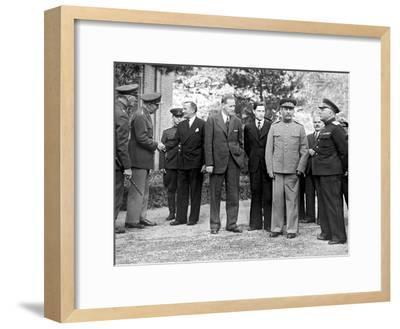 Stalin and Voroshilov at the Tehran Conference 1943--Framed Giclee Print