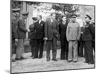 Stalin and Voroshilov at the Tehran Conference 1943--Mounted Giclee Print