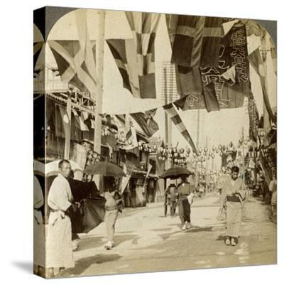 Theatre Street, Osaka, Japan-Underwood & Underwood-Stretched Canvas Print