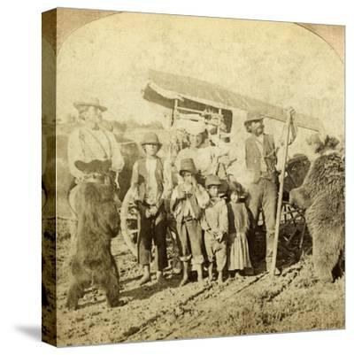 Gypsies and Dancing Bears on the Road-Underwood & Underwood-Stretched Canvas Print