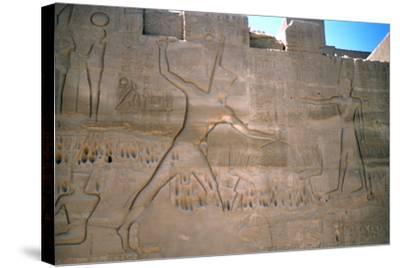 Pharaoh Seti, Capture of Slaves, Luxor, Egypt--Stretched Canvas Print