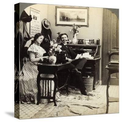 Flirtation-Underwood & Underwood-Stretched Canvas Print