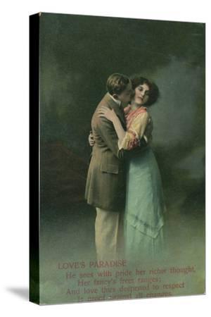 Vintage Romantic Poatcard--Stretched Canvas Print