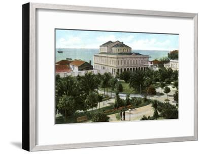 Public Garden and Theatre, Madeira, 1905--Framed Giclee Print