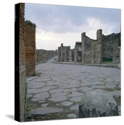 A Cobblestone Roman Road in Pompeii, Italy--Stretched Canvas Print